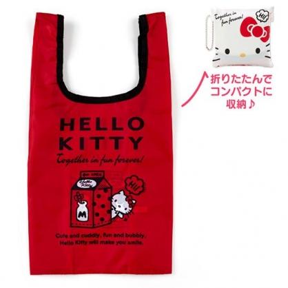〔小禮堂〕Hello Kitty 折疊尼龍環保購物袋《白.大臉》手提袋.環保袋