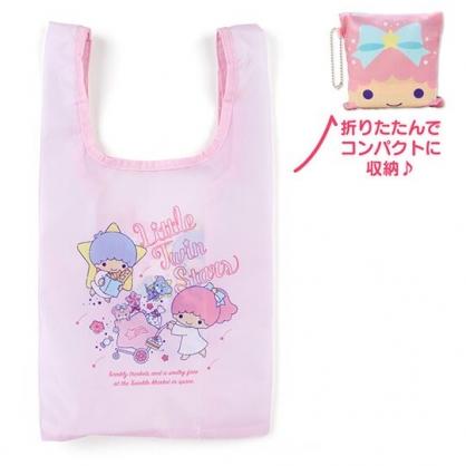 〔小禮堂〕雙子星 折疊尼龍環保購物袋《粉.大臉》手提袋.環保袋