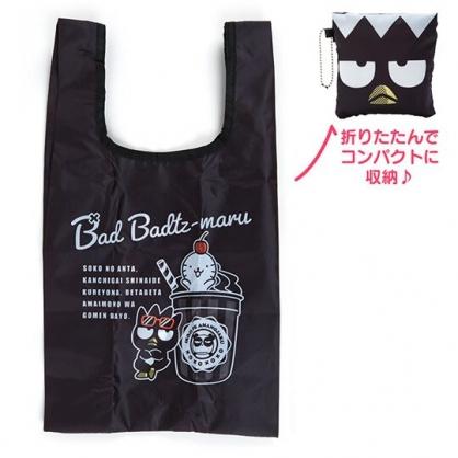 〔小禮堂〕酷企鵝 折疊尼龍環保購物袋《黑.大臉》手提袋.環保袋