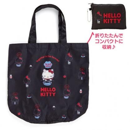〔小禮堂〕Hello Kitty 折疊尼龍環保購物袋《黑.寫字》手提袋.環保袋