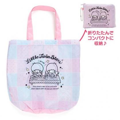 〔小禮堂〕雙子星 折疊尼龍環保購物袋《紫.餐桌》手提袋.環保袋
