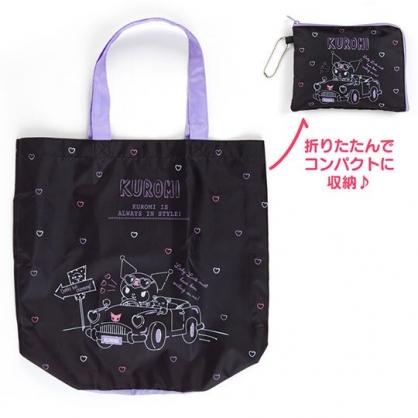 〔小禮堂〕酷洛米 折疊尼龍環保購物袋《黑.開車》手提袋.環保袋