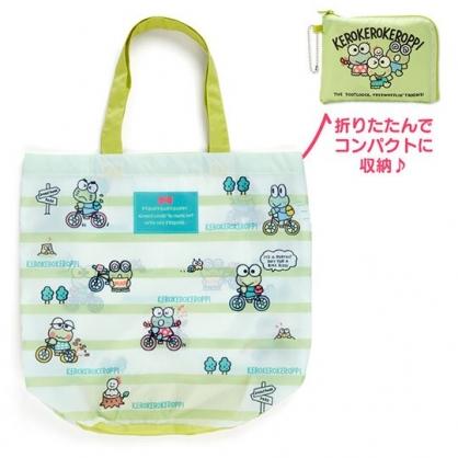 〔小禮堂〕大眼蛙 折疊尼龍環保購物袋《綠.朋友》手提袋.環保袋