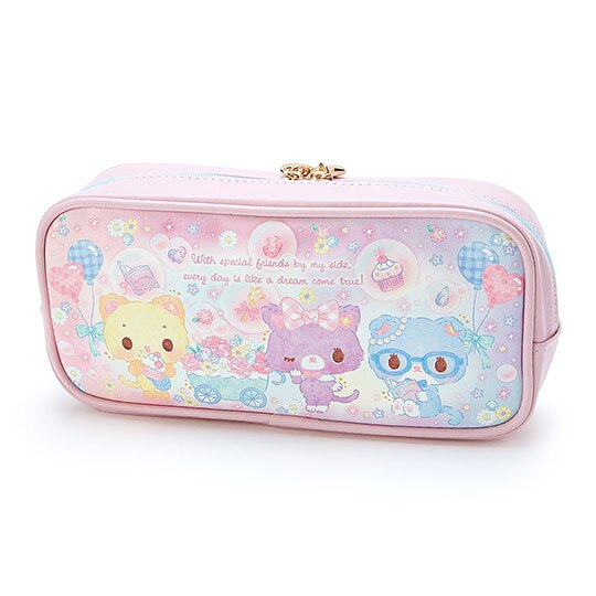 〔小禮堂〕甜夢貓 皮質拉鍊筆袋《粉藍.推花車》化妝包.收納包.鉛筆盒