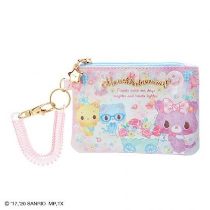 〔小禮堂〕甜夢貓 皮質拉鍊票卡零錢包《粉藍.推花車》收納包.證件夾.車票夾