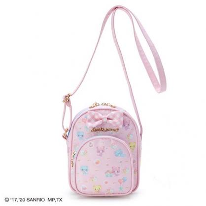 〔小禮堂〕甜夢貓 尼龍雙層拉鍊斜背包《粉藍.推花車》隨身包.外出包