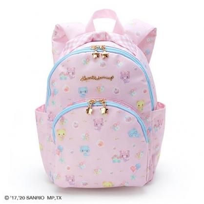 〔小禮堂〕甜夢貓 兒童尼龍雙層拉鍊後背包《粉藍.推花車》雙肩包.書包.外出包