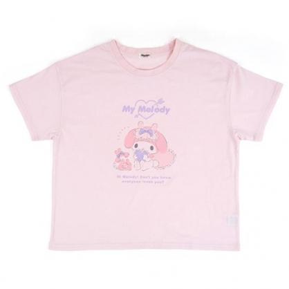〔小禮堂〕美樂蒂 休閒棉質圓領短袖上衣《粉紫.抱愛心》T恤.短T.T-shirt