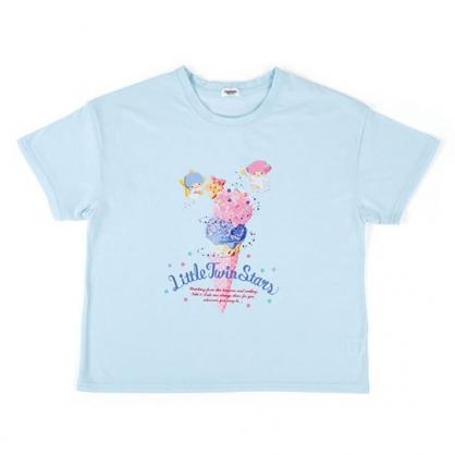 〔小禮堂〕雙子星 休閒棉質圓領短袖上衣《藍粉.冰淇淋》T恤.短T.T-shirt