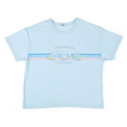 〔小禮堂〕大耳狗 休閒棉質圓領短袖上衣《藍粉.滑板》T恤.短T.T-shirt