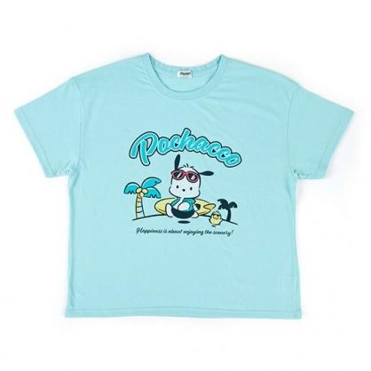 〔小禮堂〕帕恰狗 休閒棉質圓領短袖上衣《綠藍.衝浪板》T恤.短T.T-shirt