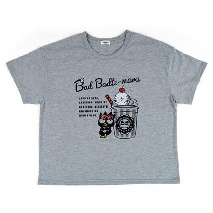 〔小禮堂〕酷企鵝 休閒棉質圓領短袖上衣《灰黑.冰沙杯》T恤.短T.T-shirt