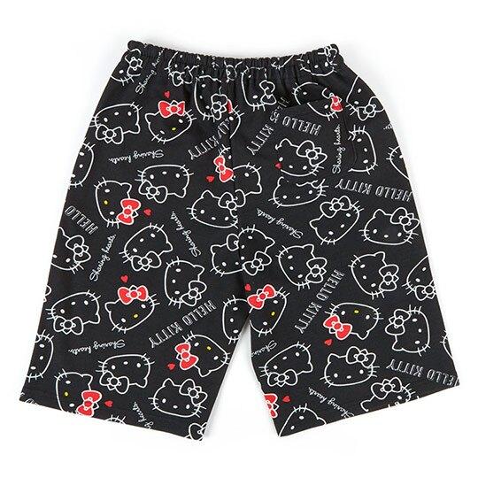 〔小禮堂〕Hello Kitty 棉質休閒鬆緊帶及膝短褲《黑紅.滿版》棉褲.運動褲