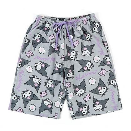 〔小禮堂〕酷洛米 棉質休閒鬆緊帶及膝短褲《灰紫.滿版》棉褲.運動褲