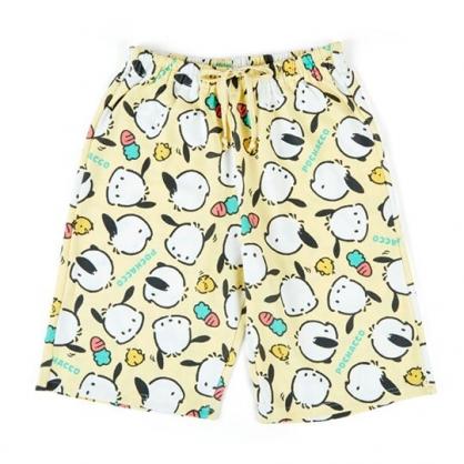 〔小禮堂〕帕恰狗 棉質休閒鬆緊帶及膝短褲《黃綠.滿版》棉褲.運動褲