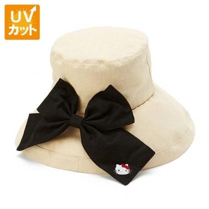 小禮堂 Hello Kitty 折疊帆布帽 漁夫帽 防曬帽 遮陽帽 抗UV (米黑 2020夏日大人服飾)