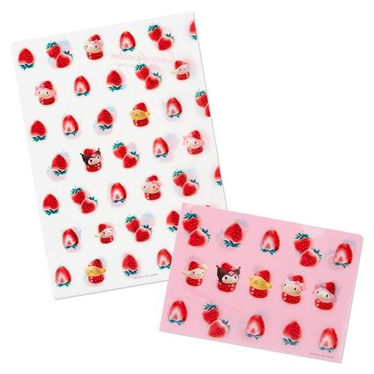 小禮堂 Sanrio大集合 L夾 資料夾 檔案夾 文件夾 收納夾 (2入 紅白 草莓年代系列)