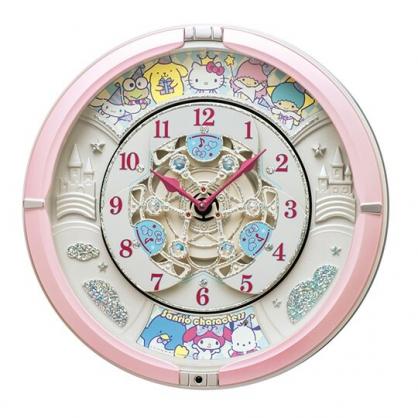 小禮堂 Sanrio大集合 圓形音樂壁掛鐘 音樂鐘 時鐘 壁鐘 (粉白 60週年)