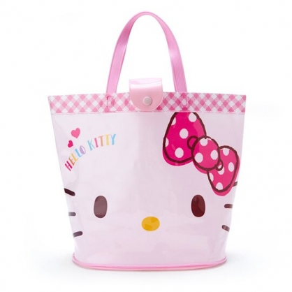 小禮堂 Hello Kitty 透明海灘袋 游泳袋 水桶袋 防水提袋 泳具袋 (粉白 2020夏日特輯)
