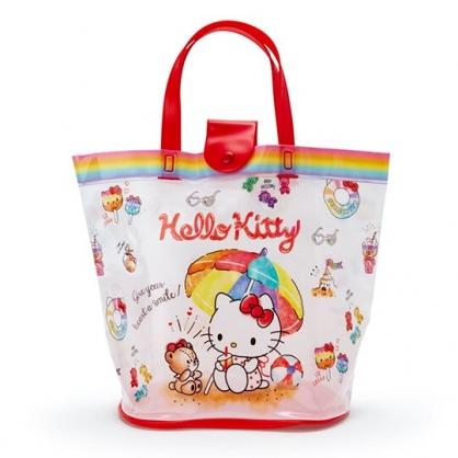 小禮堂 Hello Kitty 透明海灘袋 游泳袋 水桶袋 防水提袋 泳具袋 (紅白 2020夏日特輯)