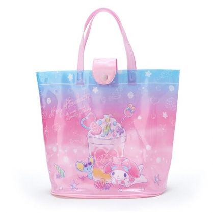 小禮堂 美樂蒂 透明海灘袋 游泳袋 水桶袋 防水提袋 泳具袋 (粉藍 2020夏日特輯)