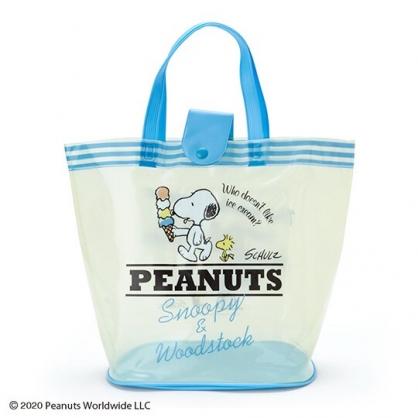 小禮堂 史努比 透明海灘袋 游泳袋 水桶袋 防水提袋 泳具袋 (淡黃藍 2020夏日特輯)