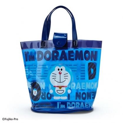 小禮堂 哆啦A夢 透明海灘袋 游泳袋 水桶袋 防水提袋 泳具袋 (深藍 2020夏日特輯)