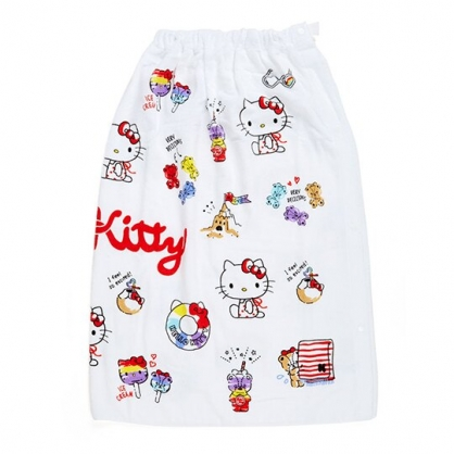 小禮堂 Hello Kitty 兒童無肩帶浴裙 純棉浴巾 毛巾 沙灘巾 80x120cm (白 2020夏日特輯)