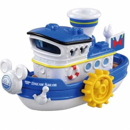 小禮堂 迪士尼 唐老鴨 TOMICA 多美小汽車 造型蒸汽船 公仔 模型 兒童玩具 (DM06 黃藍)