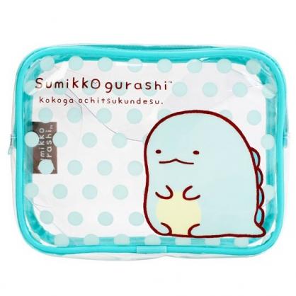 小禮堂 角落生物 方形透明防水盥洗包 化妝包 收納包 旅行盥洗包 含空瓶 (藍 恐龍)