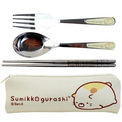 小禮堂 角落生物 三件式不鏽鋼餐具組 304不鏽鋼 匙筷組 餐具袋 環保餐具 (黃 貓咪)