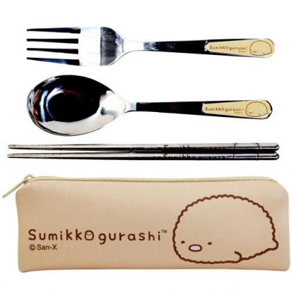 小禮堂 角落生物 三件式不鏽鋼餐具組 304不鏽鋼 匙筷組 餐具袋 環保餐具 (橘 豬排)