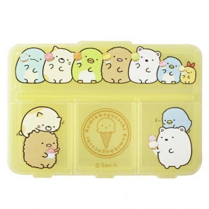 小禮堂 角落生物 塑膠方形四格藥盒 隨身藥盒 藥物收納盒 小物盒 (黃 冰淇淋)
