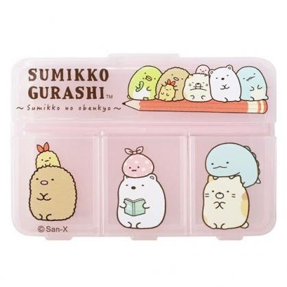 小禮堂 角落生物 塑膠方形四格藥盒 隨身藥盒 藥物收納盒 小物盒 (粉 鉛筆)