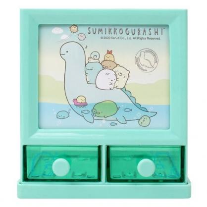 小禮堂 角落生物 塑膠方形雙抽收納盒 置物盒 筆筒 收納筒 (綠 水怪)