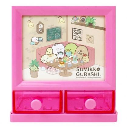 小禮堂 角落生物 塑膠方形雙抽收納盒 置物盒 筆筒 收納筒 (桃 午茶)