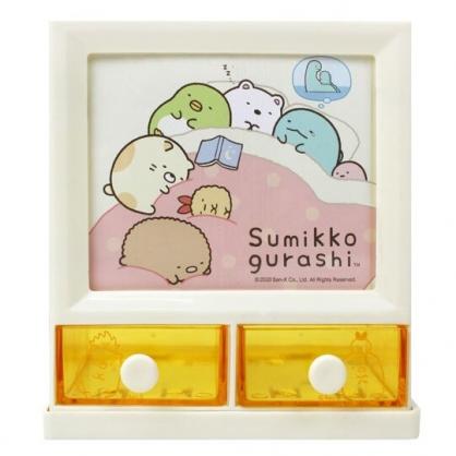 小禮堂 角落生物 塑膠方形雙抽收納盒 置物盒 筆筒 收納筒 (黃 棉被)