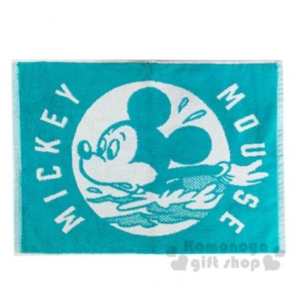 小禮堂 迪士尼 米奇 毛巾腳踏墊 浴墊 地墊 踏墊 吸水腳踏墊 45x60cm (綠白 大臉)