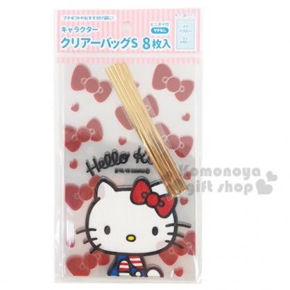 小禮堂 Hello Kitty 迷你透明束口禮物袋組 包裝袋 糖果袋 餅乾袋 銅板小物 (8入 紅)