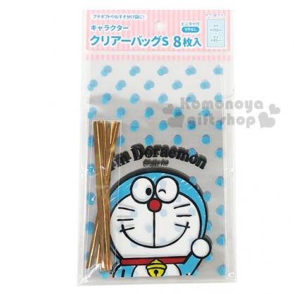 小禮堂 哆啦A夢 迷你透明束口禮物袋組 包裝袋 糖果袋 餅乾袋 銅板小物 (8入 藍)