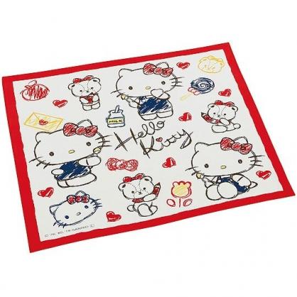 小禮堂 Hello Kitty 日製 棉質 便當包巾 餐巾 桌墊 手帕 桌巾 43x43cm (紅白 水彩筆)