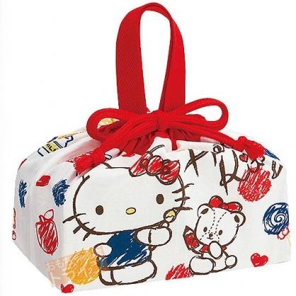 小禮堂 Hello Kitty 日製 棉質 束口便當袋 手提袋 縮口袋 便當提袋 (紅白 水彩筆)
