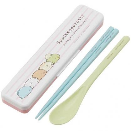 小禮堂 角落生物 日製 盒裝兩件式餐具組 匙筷 環保餐具 兒童餐具 (粉白 排趴)