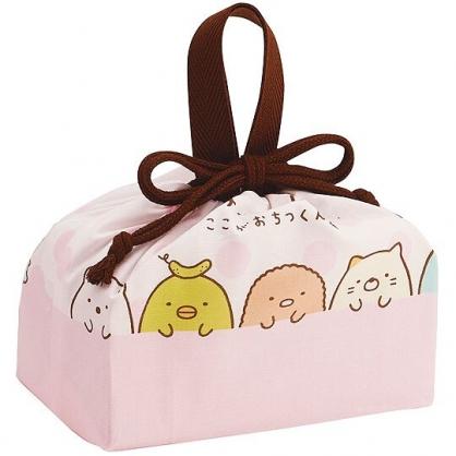 小禮堂 角落生物 日製 棉質 束口便當袋 手提袋 縮口袋 便當提袋 (粉白 點點)