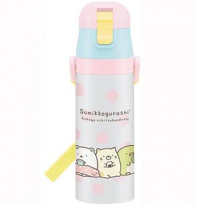 小禮堂 角落生物 彈蓋保溫瓶 水壺 水瓶 隨身瓶 超輕量不鏽鋼 470ml (粉白 點點)