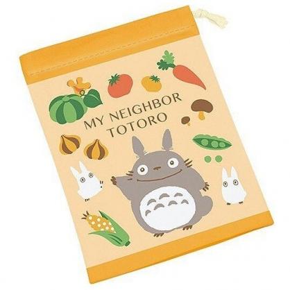 小禮堂 宮崎駿Totoro龍貓 日製 棉質 束口袋 牙刷杯袋 收納袋 縮口袋 (黃 蔬菜)