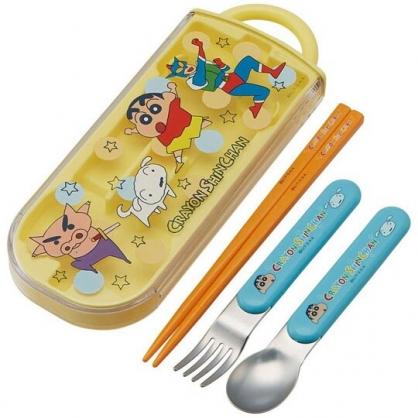 小禮堂 蠟筆小新 日製 滑蓋三件式餐具組 筷匙 叉匙 環保餐具 兒童餐具 (黃 點點)