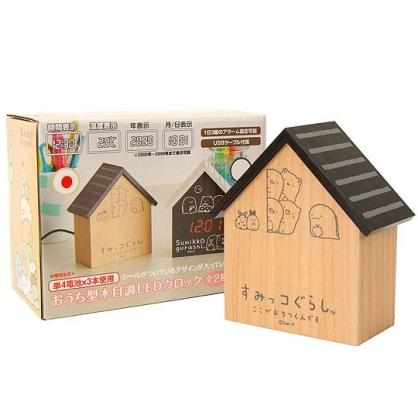 小禮堂 角落生物 造型木製 電子鬧鐘 桌鐘 時鐘 LED鬧鐘 造型鐘 溫度計 (棕 房屋)