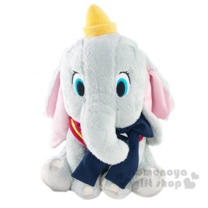 小禮堂 迪士尼 小飛象 DUMBO 絨毛 玩偶 娃娃 玩具 布偶 (L 灰 藍領結)