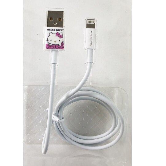 小禮堂 Hello Kitty 1M 傳輸線 充電線 USB線 數據線 (粉白 彩繪)